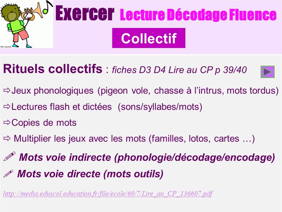Exercer Lecture Décodage Fluence Rituels collectifs : fiches D3 D4 Lire au CP p 39/40 Jeux phonologiques (pigeon vole, chasse à lintrus, mots tordus)
