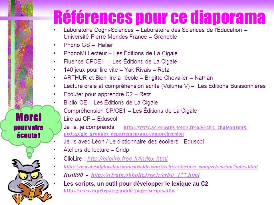Références pour ce diaporama Laboratoire Cogni-Sciences – Laboratoire des Sciences de lÉducation – Université Pierre Mendès France – Grenoble Phono GS