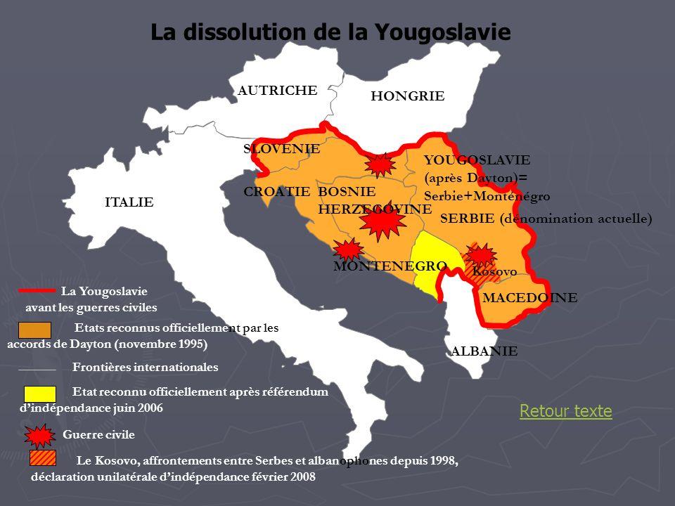 La Yougoslavie avant les guerres civiles ITALIE ALBANIE AUTRICHE HONGRIE CROATIEBOSNIE HERZEGOVINE Etats reconnus officiellement par les accords de Da