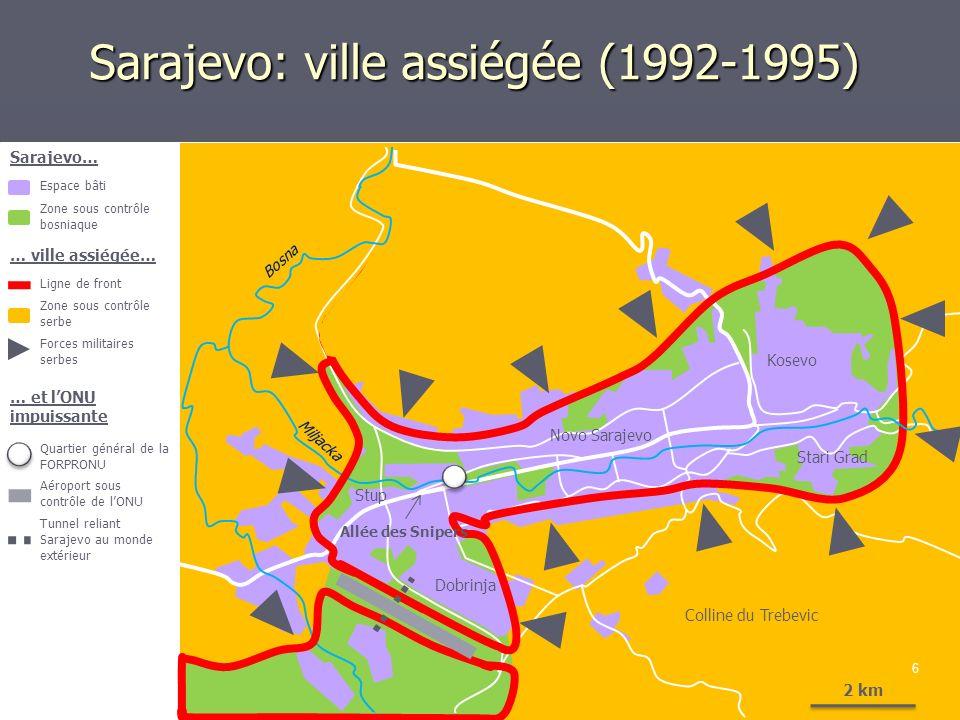 Sarajevo: ville assiégée (1992-1995) 6 2 km Bosna Miljacka Stup Dobrinja Novo Sarajevo Kosevo Stari Grad Colline du Trebevic Sarajevo… Espace bâti Zon