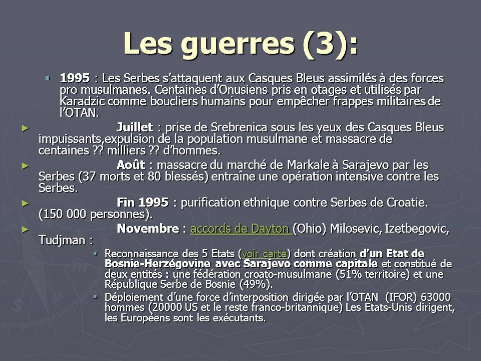 Les guerres (3): 1995 : Les Serbes sattaquent aux Casques Bleus assimilés à des forces pro musulmanes. Centaines dOnusiens pris en otages et utilisés
