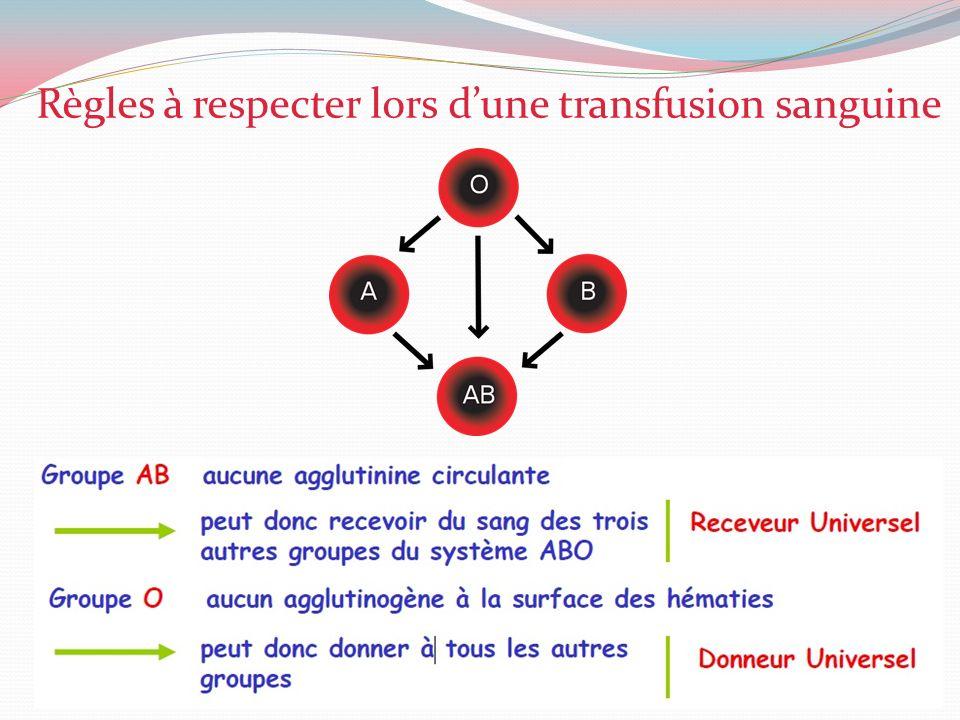 Règles à respecter lors dune transfusion sanguine