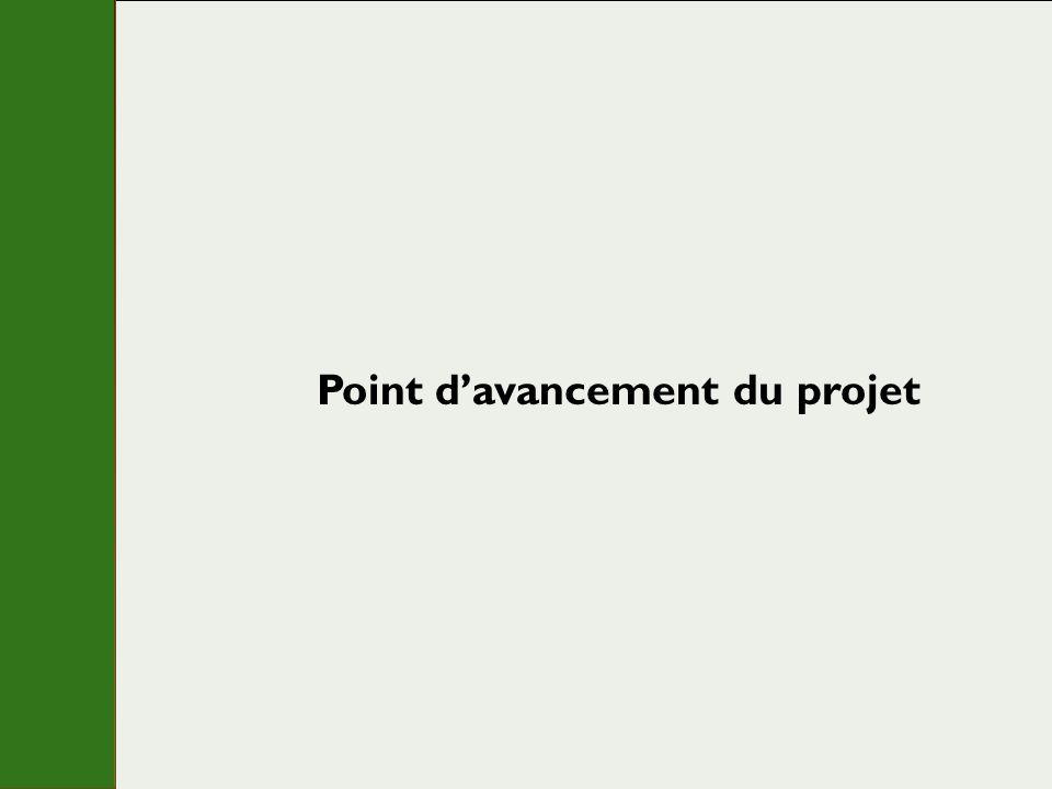 Point davancement du projet