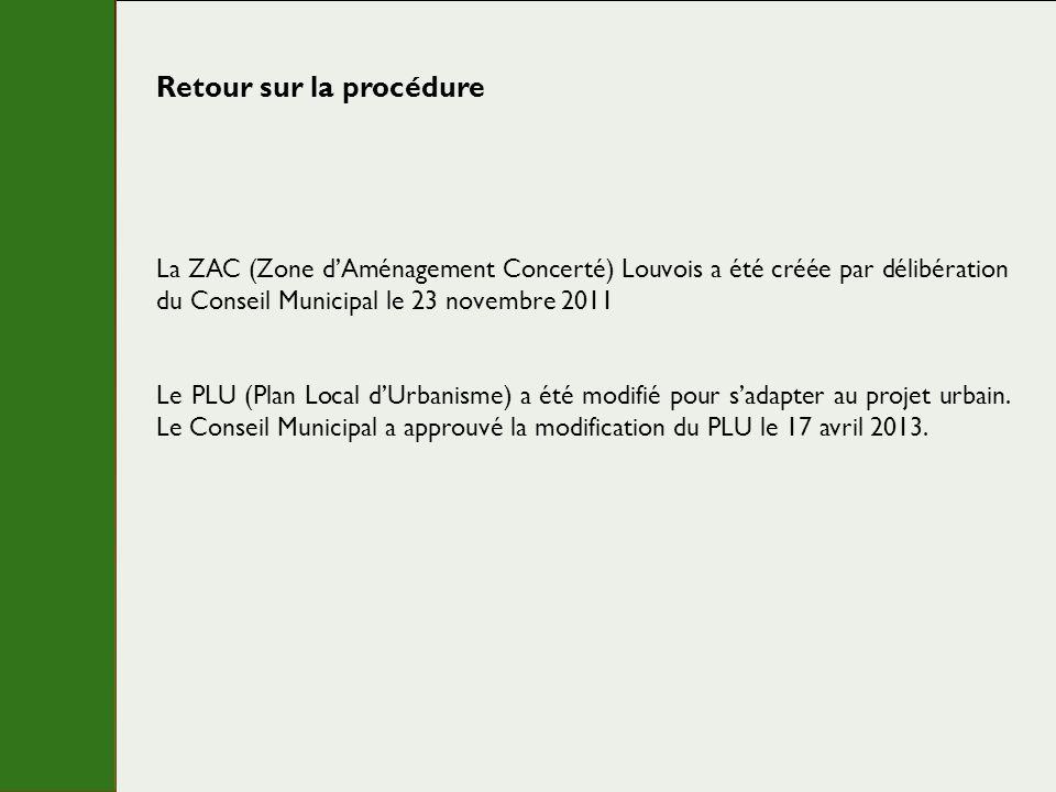 Retour sur la procédure La ZAC (Zone dAménagement Concerté) Louvois a été créée par délibération du Conseil Municipal le 23 novembre 2011 Le PLU (Plan