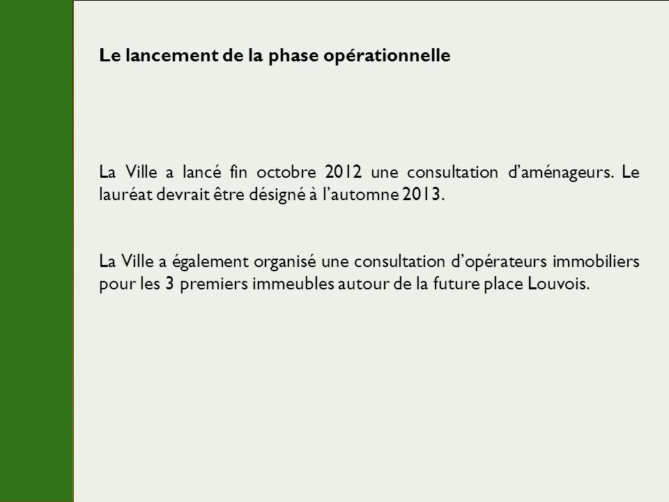 Le lancement de la phase opérationnelle La Ville a lancé fin octobre 2012 une consultation daménageurs. Le lauréat devrait être désigné à lautomne 201