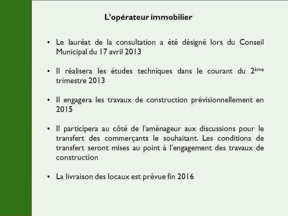 Lopérateur immobilier Le lauréat de la consultation a été désigné lors du Conseil Municipal du 17 avril 2013 Il réalisera les études techniques dans l