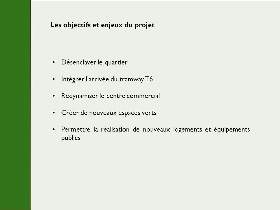 Les objectifs et enjeux du projet Désenclaver le quartier Intégrer larrivée du tramway T6 Redynamiser le centre commercial Créer de nouveaux espaces v
