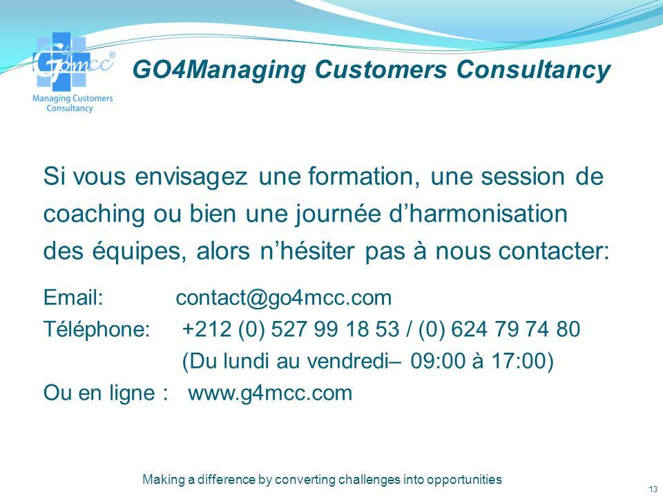 GO4Managing Customers Consultancy Qui sommes nous: Myriem Maach - La directrice générale de GO4MCC apporte avec elle une vaste expérience multinationale, après avoir travaillée avec des organisations et des entreprises de premier ordre que ca soit au Maroc ou bien au Royaume-Uni.