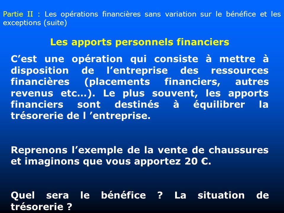 Les apports personnels financiers Cest une opération qui consiste à mettre à disposition de lentreprise des ressources financières (placements financiers, autres revenus etc…).