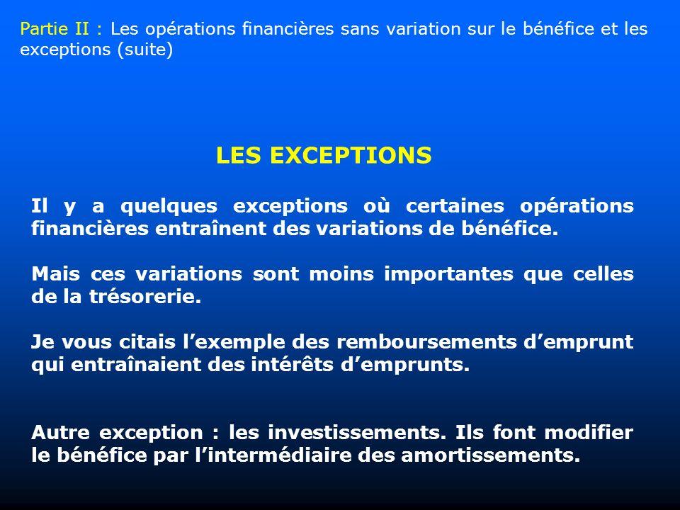 Il y a quelques exceptions où certaines opérations financières entraînent des variations de bénéfice. Mais ces variations sont moins importantes que c