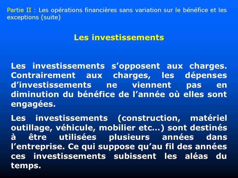 Les investissements Les investissements sopposent aux charges. Contrairement aux charges, les dépenses dinvestissements ne viennent pas en diminution