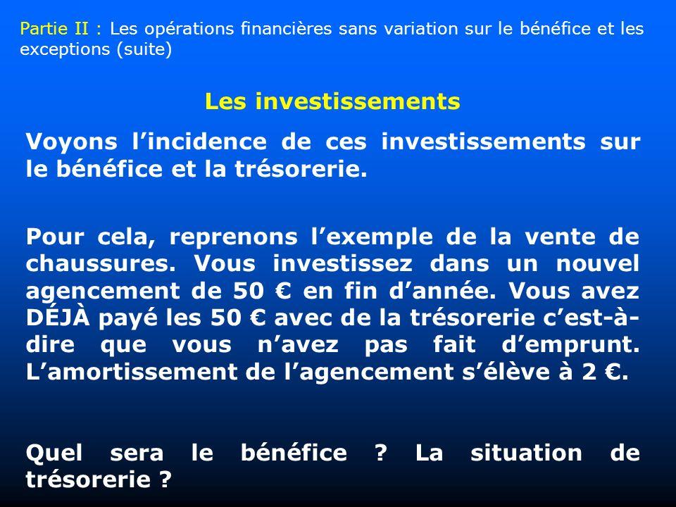 Les investissements Voyons lincidence de ces investissements sur le bénéfice et la trésorerie. Pour cela, reprenons lexemple de la vente de chaussures