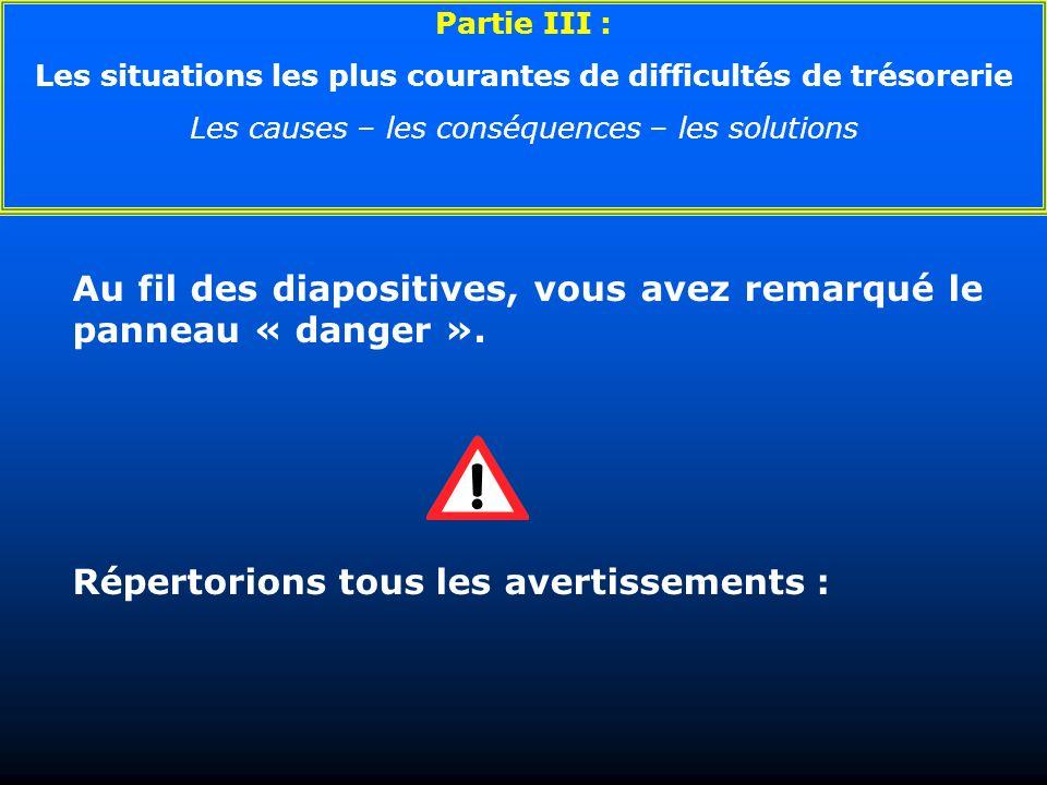 Au fil des diapositives, vous avez remarqué le panneau « danger ». Répertorions tous les avertissements : Partie III : Les situations les plus courant