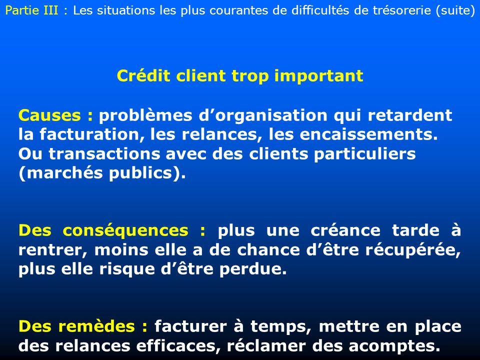 Crédit client trop important Causes : problèmes dorganisation qui retardent la facturation, les relances, les encaissements. Ou transactions avec des
