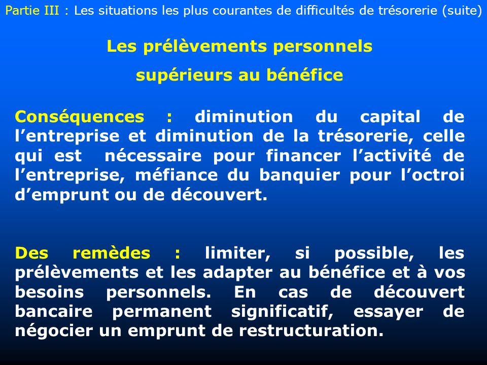 Les prélèvements personnels supérieurs au bénéfice Conséquences : diminution du capital de lentreprise et diminution de la trésorerie, celle qui est n