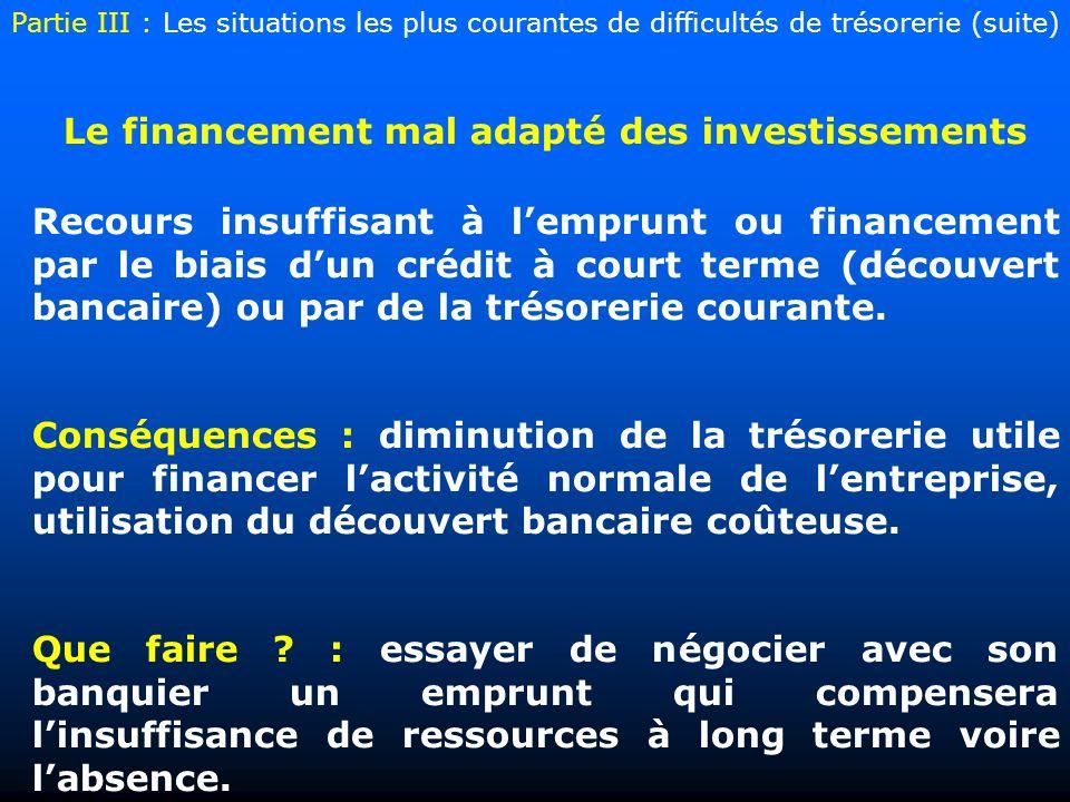 Le financement mal adapté des investissements Recours insuffisant à lemprunt ou financement par le biais dun crédit à court terme (découvert bancaire) ou par de la trésorerie courante.