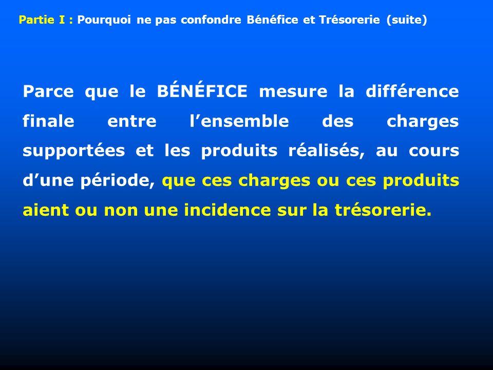 Parce que le BÉNÉFICE mesure la différence finale entre lensemble des charges supportées et les produits réalisés, au cours dune période, que ces charges ou ces produits aient ou non une incidence sur la trésorerie.
