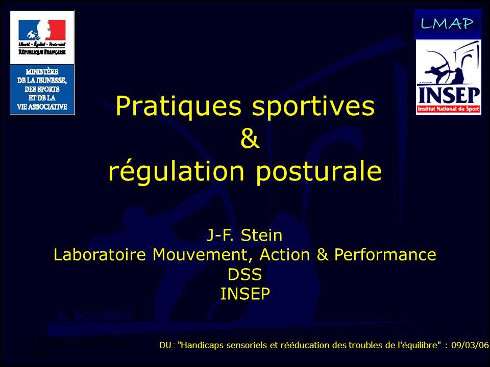 J-F. Stein, LMAP, DSS, INSEP 1 Pratiques sportives & régulation posturale LMAP J-F. Stein Laboratoire Mouvement, Action & Performance DSS INSEP DU :