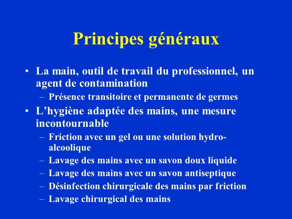 Principes généraux La main, outil de travail du professionnel, un agent de contamination –Présence transitoire et permanente de germes Lhygiène adapté