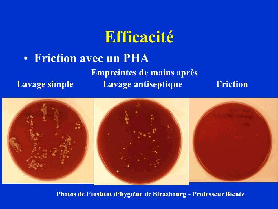 Efficacité Friction avec un PHA Photos de linstitut dhygiène de Strasbourg - Professeur Bientz Lavage simpleLavage antiseptiqueFriction Empreintes de