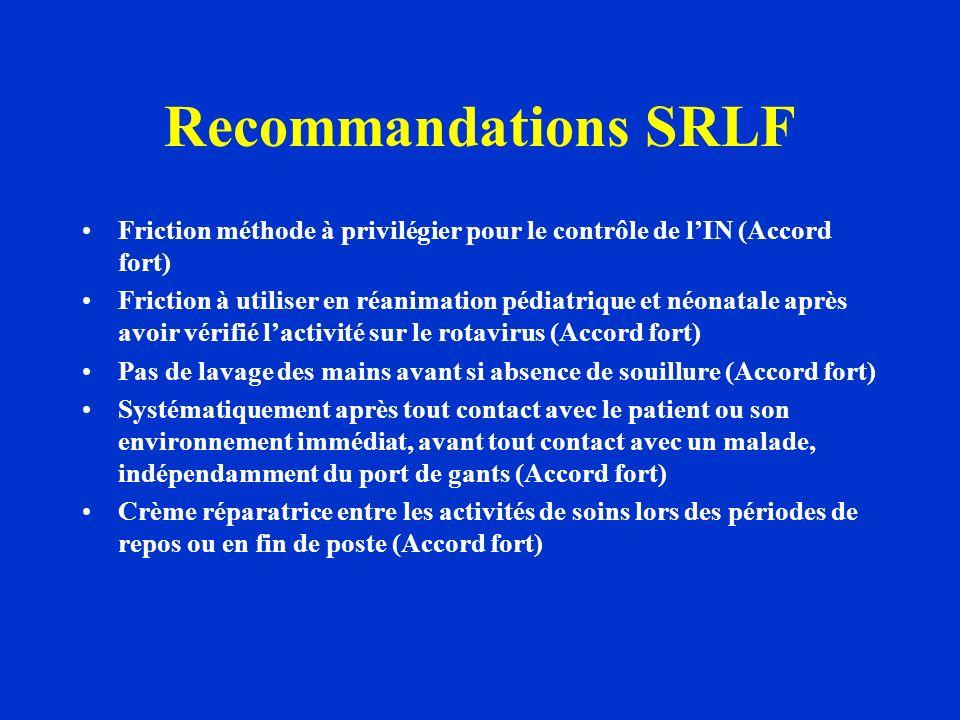 Recommandations SRLF Friction méthode à privilégier pour le contrôle de lIN (Accord fort) Friction à utiliser en réanimation pédiatrique et néonatale