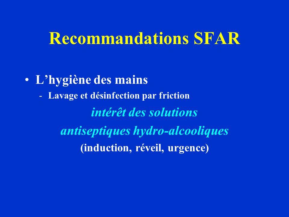 Recommandations SFAR Lhygiène des mains -Lavage et désinfection par friction intérêt des solutions antiseptiques hydro-alcooliques (induction, réveil,