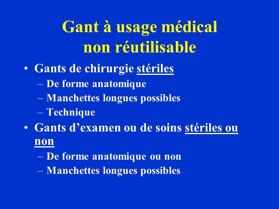 Gant à usage médical non réutilisable Gants de chirurgie stériles –De forme anatomique –Manchettes longues possibles –Technique Gants dexamen ou de so