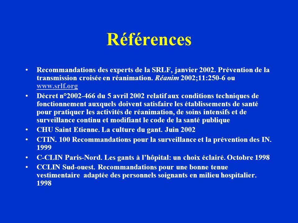 Références Recommandations des experts de la SRLF, janvier 2002. Prévention de la transmission croisée en réanimation. Réanim 2002;11:250-6 ou www.srl