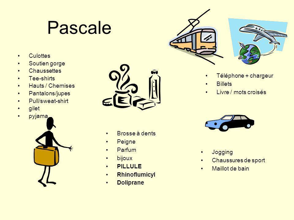 Pascale Culottes Soutien gorge Chaussettes Tee-shirts Hauts / Chemises Pantalons/jupes Pull/sweat-shirt gilet pyjama Brosse à dents Peigne Parfum bijo