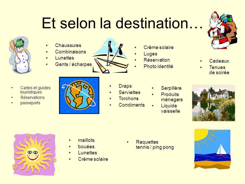 Et selon la destination… Cartes et guides touristiques Réservations passeports Chaussures Combinaisons Lunettes Gants / écharpes Crême solaire Luges R