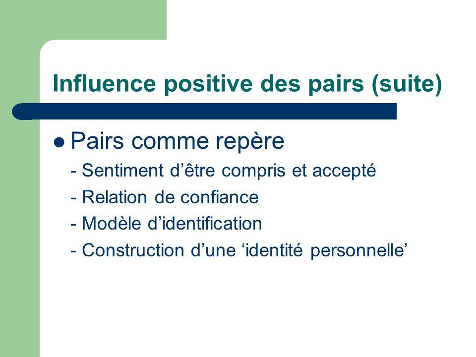 Influence positive des pairs (suite) Pairs comme repère - Sentiment dêtre compris et accepté - Relation de confiance - Modèle didentification - Constr