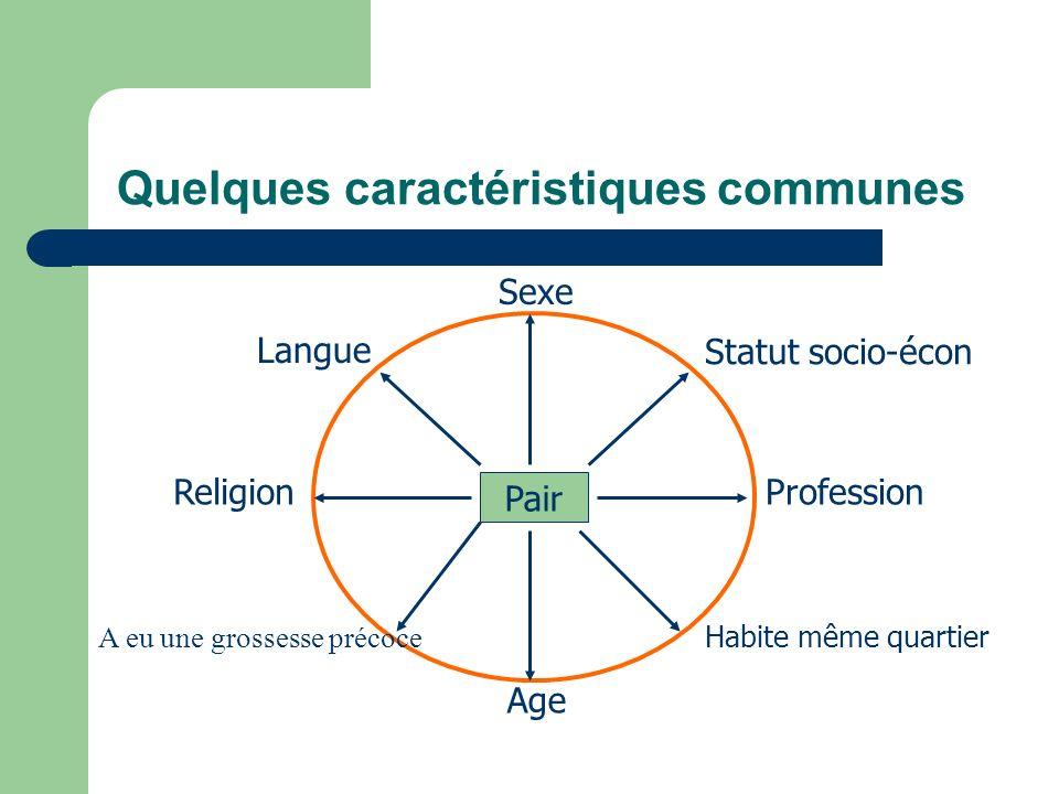 Quelques caractéristiques communes Pair Sexe Age Profession Religion Langue Statut socio-écon Habite même quartier A eu une grossesse précoce