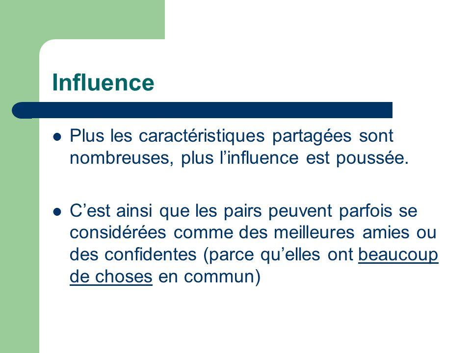 Influence Plus les caractéristiques partagées sont nombreuses, plus linfluence est poussée. Cest ainsi que les pairs peuvent parfois se considérées co