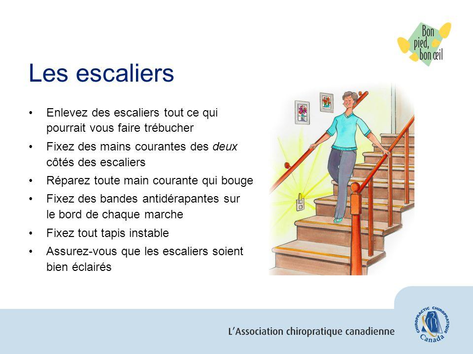 Les escaliers Enlevez des escaliers tout ce qui pourrait vous faire trébucher Fixez des mains courantes des deux côtés des escaliers Réparez toute mai