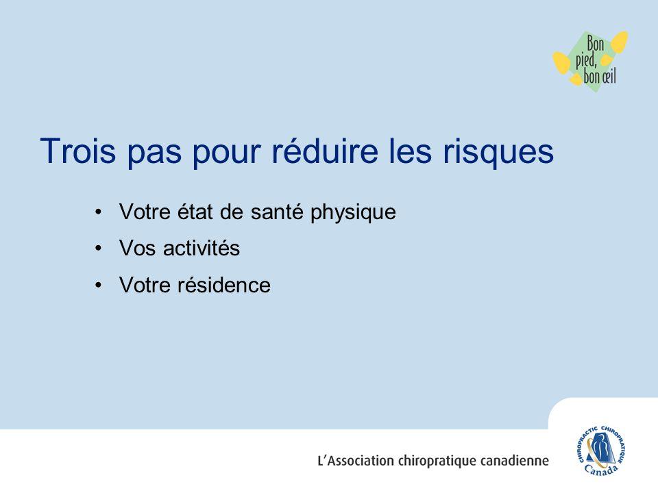 Trois pas pour réduire les risques Votre état de santé physique Vos activités Votre résidence