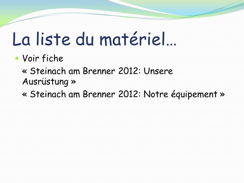 La liste du matériel… Voir fiche « Steinach am Brenner 2012: Unsere Ausrüstung » « Steinach am Brenner 2012: Notre équipement »