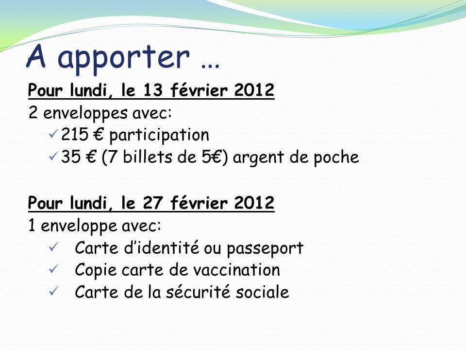 A apporter … Pour lundi, le 13 février 2012 2 enveloppes avec: 215 participation 35 (7 billets de 5) argent de poche Pour lundi, le 27 février 2012 1
