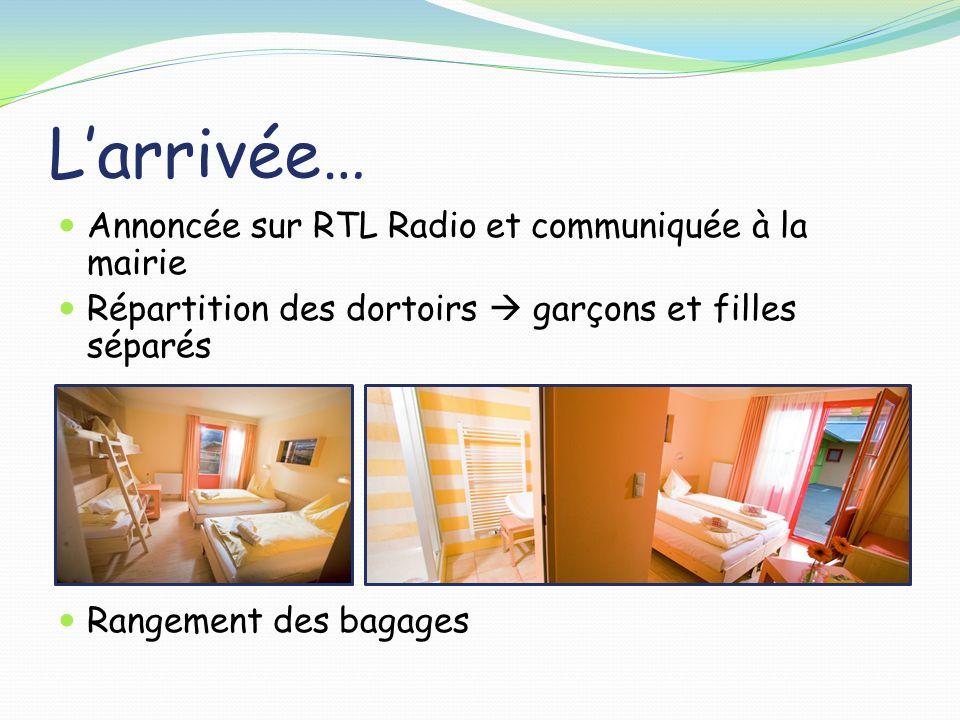 Larrivée… Annoncée sur RTL Radio et communiquée à la mairie Répartition des dortoirs garçons et filles séparés Rangement des bagages