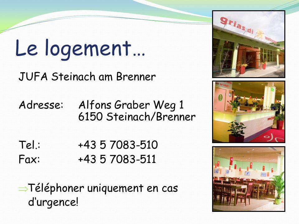 Le logement… JUFA Steinach am Brenner Adresse:Alfons Graber Weg 1 6150 Steinach/Brenner Tel.: +43 5 7083-510 Fax: +43 5 7083-511 Téléphoner uniquement