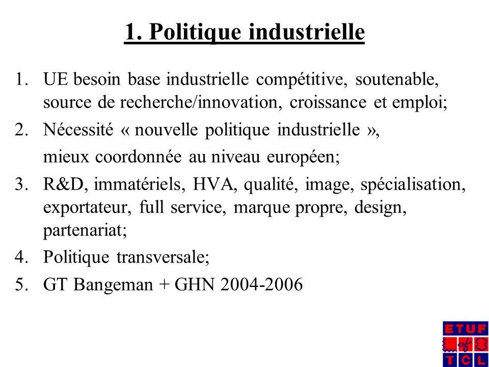 1. Politique industrielle 1.UE besoin base industrielle compétitive, soutenable, source de recherche/innovation, croissance et emploi; 2.Nécessité « n