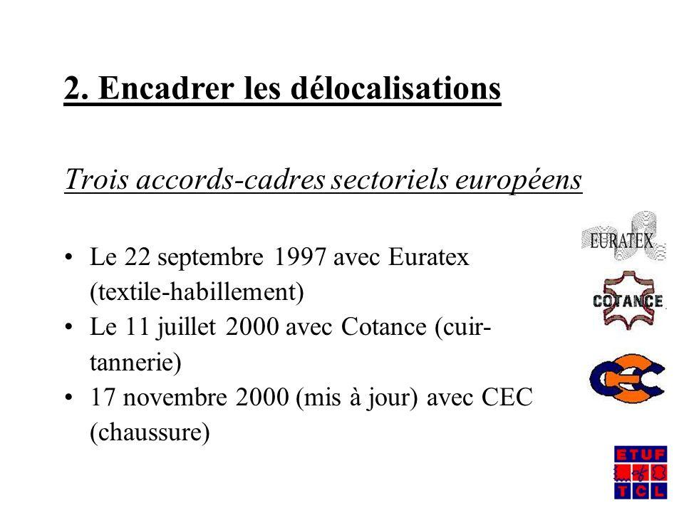 Trois accords-cadres sectoriels européens Le 22 septembre 1997 avec Euratex (textile-habillement) Le 11 juillet 2000 avec Cotance (cuir- tannerie) 17 novembre 2000 (mis à jour) avec CEC (chaussure) 2.
