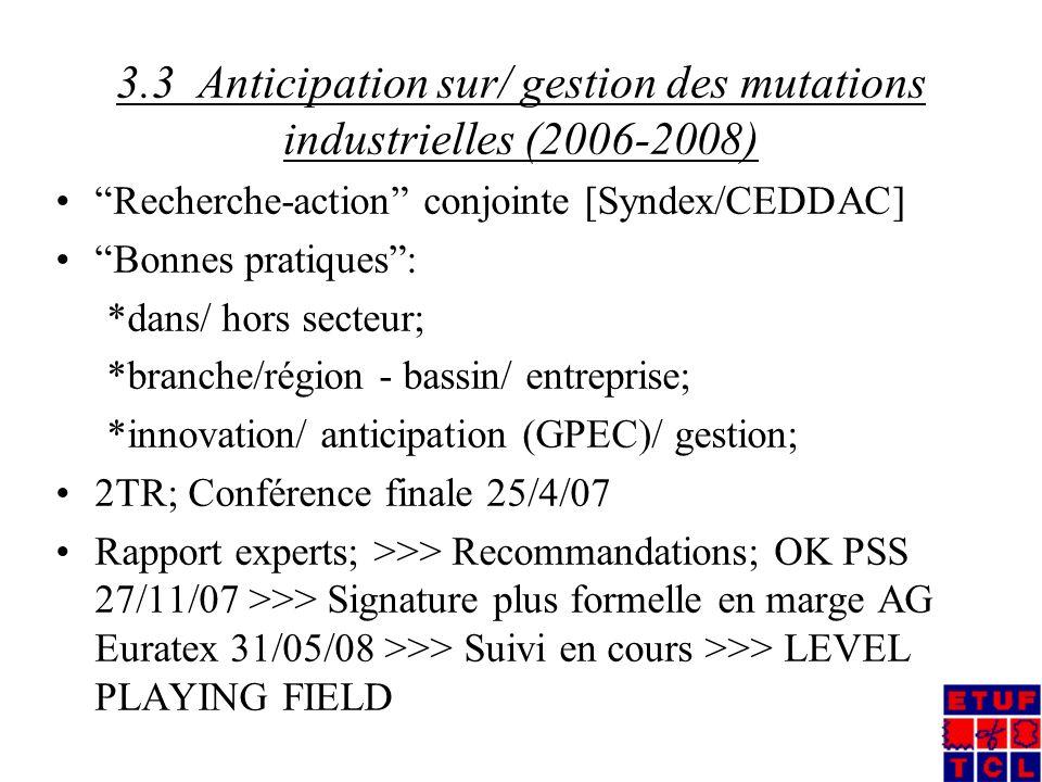 3.3 Anticipation sur/ gestion des mutations industrielles (2006-2008) Recherche-action conjointe [Syndex/CEDDAC] Bonnes pratiques: *dans/ hors secteur; *branche/région - bassin/ entreprise; *innovation/ anticipation (GPEC)/ gestion; 2TR; Conférence finale 25/4/07 Rapport experts; >>> Recommandations; OK PSS 27/11/07 >>> Signature plus formelle en marge AG Euratex 31/05/08 >>> Suivi en cours >>> LEVEL PLAYING FIELD