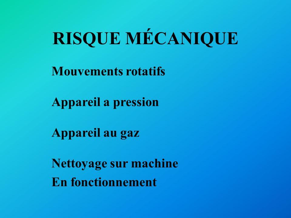 RISQUE MÉCANIQUE Mouvements rotatifs Appareil a pression Appareil au gaz Nettoyage sur machine En fonctionnement