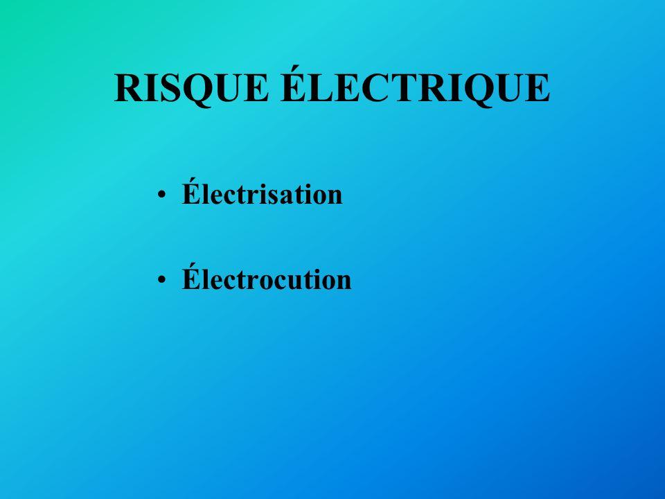 RISQUE ÉLECTRIQUE Électrisation Électrocution