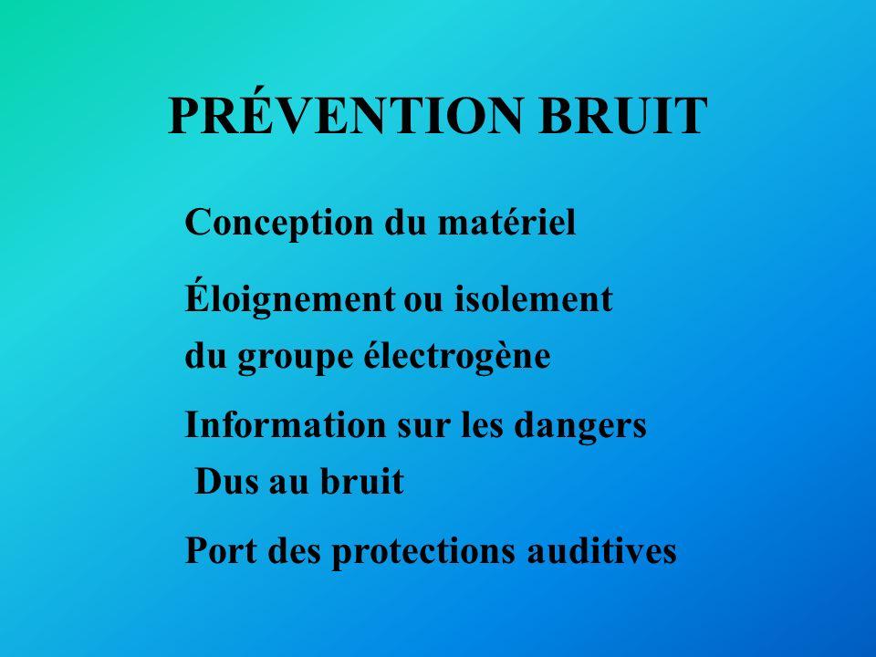 PRÉVENTION BRUIT Conception du matériel Éloignement ou isolement du groupe électrogène Information sur les dangers Dus au bruit Port des protections a