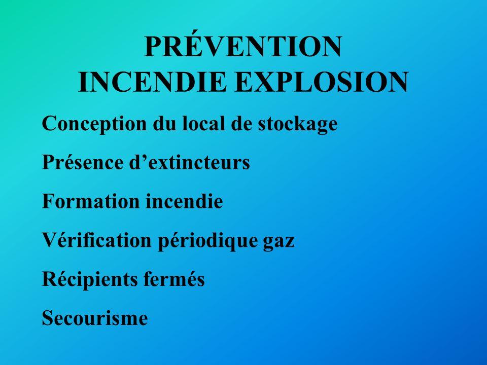 PRÉVENTION INCENDIE EXPLOSION Formation incendie Présence dextincteurs Vérification périodique gaz Conception du local de stockage Récipients fermés S