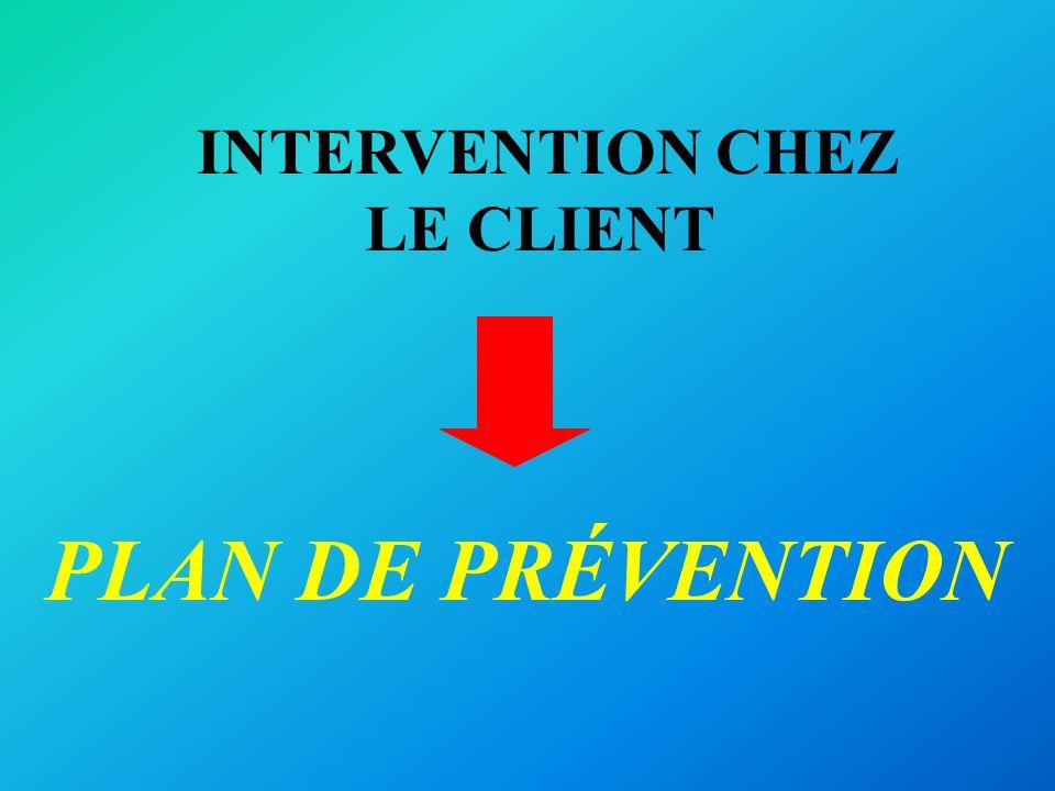 INTERVENTION CHEZ LE CLIENT PLAN DE PRÉVENTION