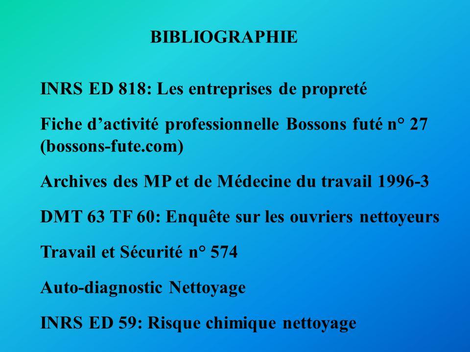 BIBLIOGRAPHIE INRS ED 818: Les entreprises de propreté Fiche dactivité professionnelle Bossons futé n° 27 (bossons-fute.com) Archives des MP et de Méd