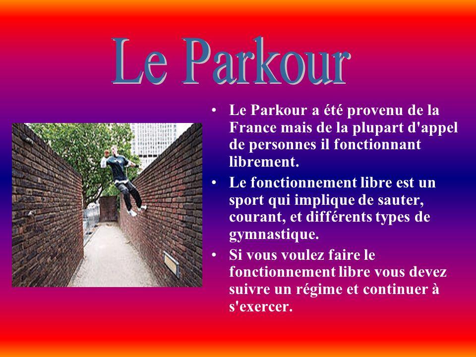 Le Parkour a été provenu de la France mais de la plupart d'appel de personnes il fonctionnant librement. Le fonctionnement libre est un sport qui impl