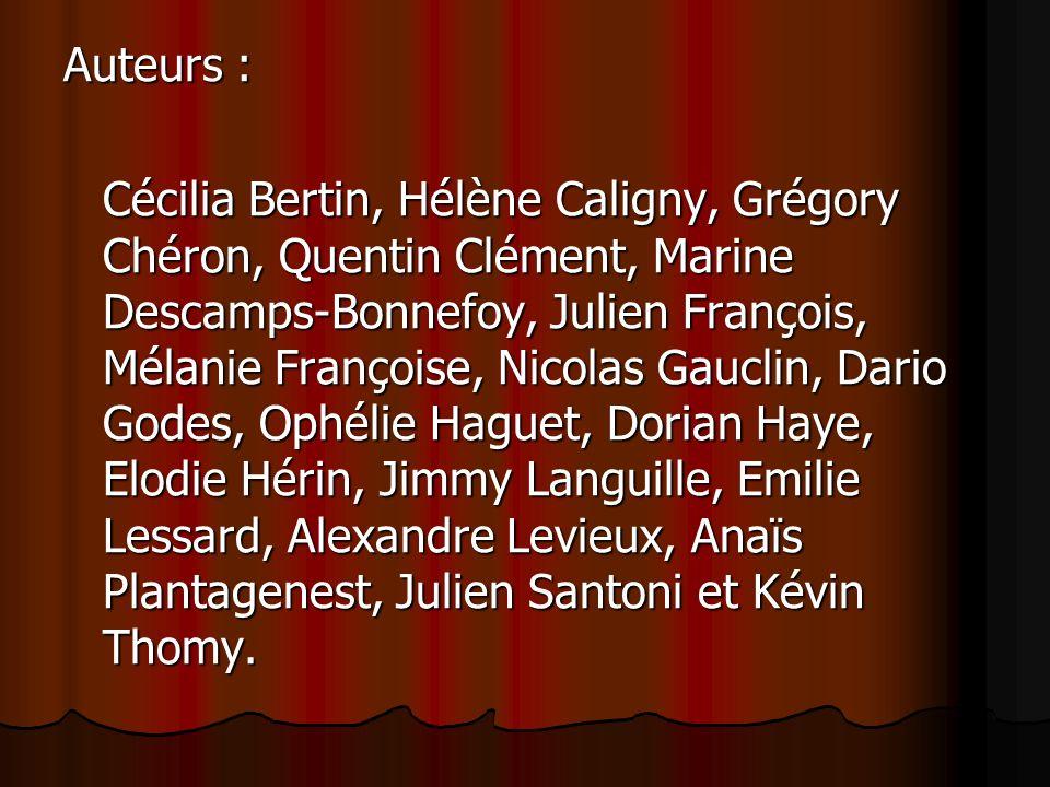 Auteurs : Cécilia Bertin, Hélène Caligny, Grégory Chéron, Quentin Clément, Marine Descamps-Bonnefoy, Julien François, Mélanie Françoise, Nicolas Gaucl